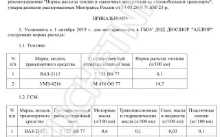 Нормы расхода топлива утвержденные минтрансом россии